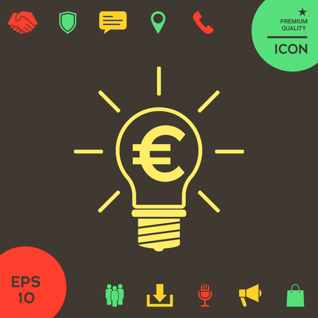 Light bulb with euro symbol business concept . Signs and symbols - graphic elements for your design Banque d'images - 121828496