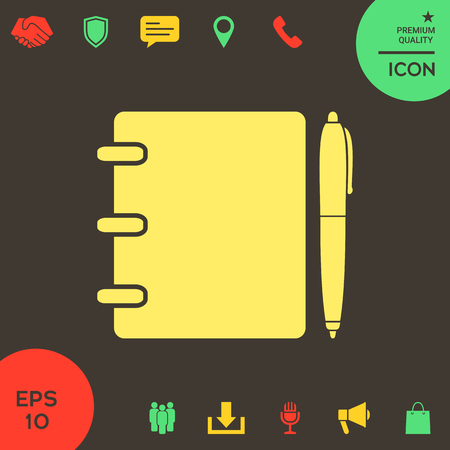 Notebook, address, phone book with pen symbol icon . Signs and symbols - graphic elements for your design Banque d'images - 121828503