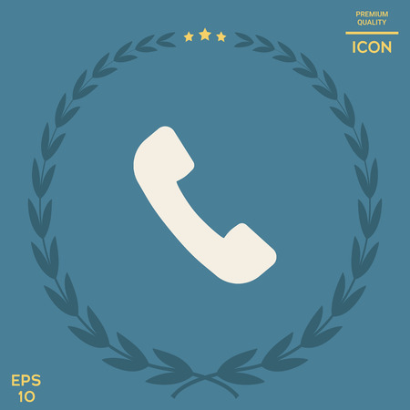 Telephone handset symbol, telephone receiver icon . Signs and symbols - graphic elements for your design Çizim