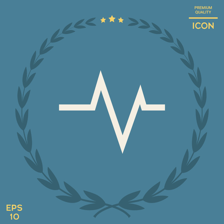 ECG wave - cardiogram symbol. Medical icon