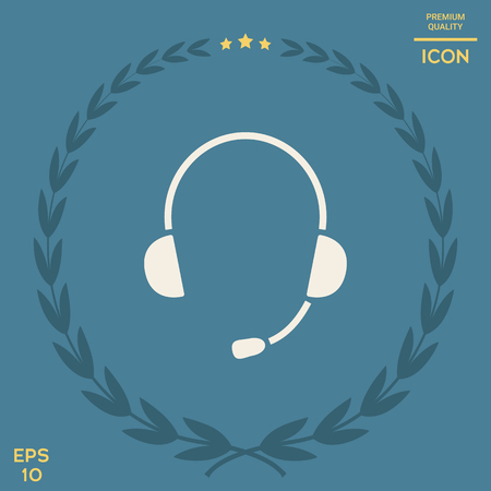 Headphones with microphone icon . Signs and symbols - graphic elements for your design