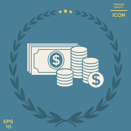 Money banknotes stack and Stack of coins icon with dollar symbol . Signs and symbols - graphic elements for your design