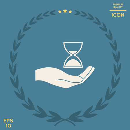 Hand holding Hourglass . Signs and symbols - graphic elements for your design Illusztráció