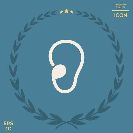 Ear symbol icon Vectores