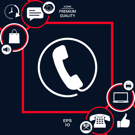 Telephone handset surrounded by a telephone cord - icon Stock Illustratie