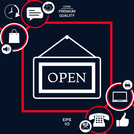 Information plate with Open sign, board hanging icon . Signs and symbols - graphic elements for your design