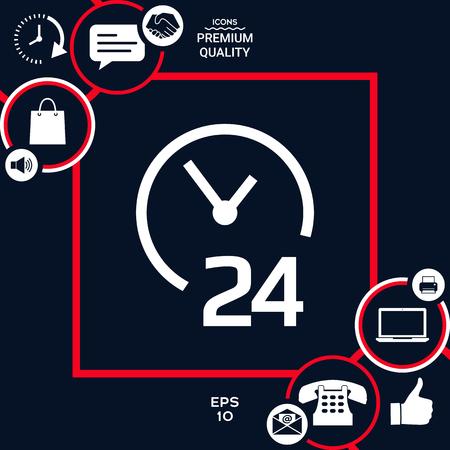 Open around the clock icon. Opening hours symbol icon Stock Illustratie
