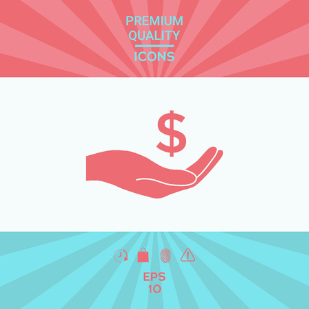 Money in hand, dollar symbol icon . Signs and symbols - graphic elements for your design Vectores