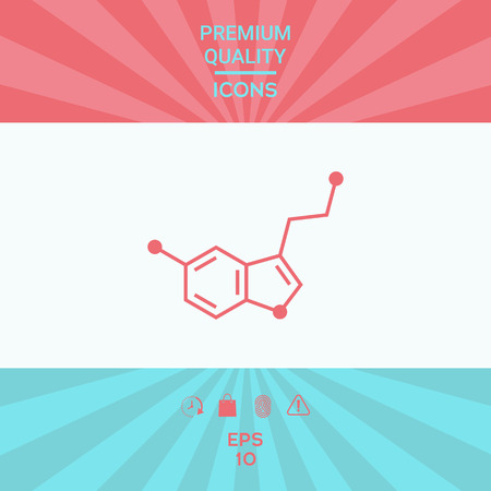 Chemical formula icon. Serotonin. Element for your design . Signs and symbols - graphic elements for your design Illustration
