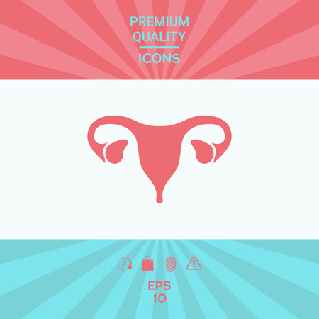 Human organs. Female uterus silhouette symbol . Signs and symbols - graphic elements for your design