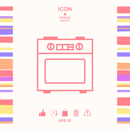 Kitchen stove linear icon . Signs and symbols - graphic elements for your design