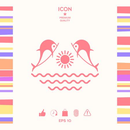 Dolphins with sun & sea - Logo Illustration