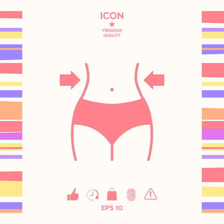 Women waist, weight loss, diet, waistline icon . Signs and symbols - graphic elements for your design