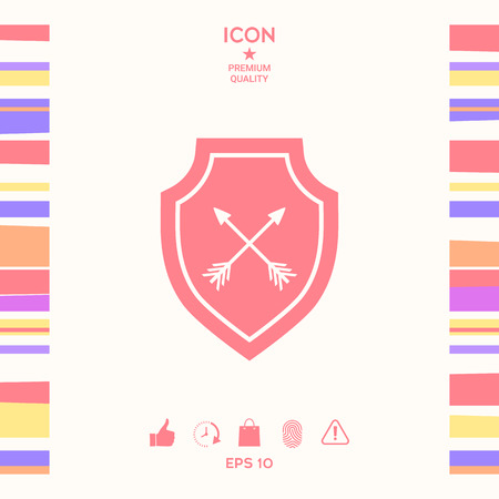 Shield with arrows. Protection icon . Signs and symbols - graphic elements for your design Stock Vector - 121824906