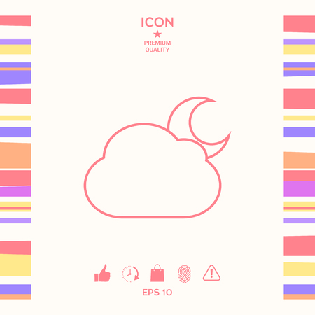 Cloud moon line icon. Element for your design . Signs and symbols - graphic elements for your design