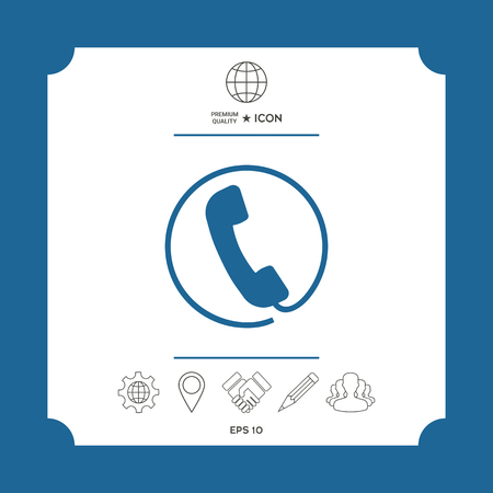 Telephone handset surrounded by a telephone cord - icon Illustration