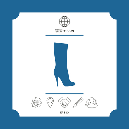 Women shoes icon, the modern silhouette. Menu item in the web design . Signs and symbols - graphic elements for your design