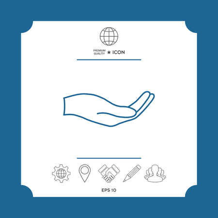 Open hand - line icon . Signs and symbols - graphic elements for your design Vettoriali