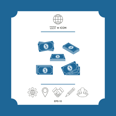 Set of Money banknotes stack icon . Signs and symbols - graphic elements for your design Ilustrace