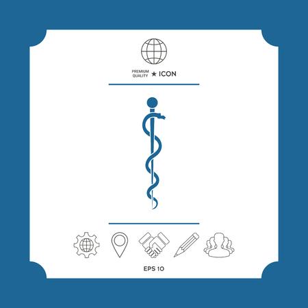 Vara de Asclepio Serpiente enrollada silueta