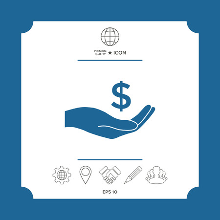 Money in hand, dollar symbol icon . Signs and symbols - graphic elements for your design Illustration