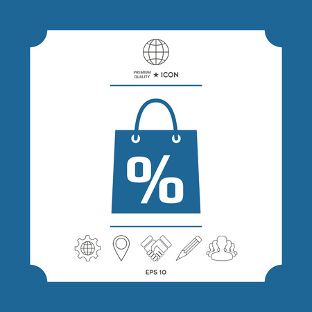 Shopping bag with the sale, percent, discount symbol . Signs and symbols - graphic elements for your design Ilustração