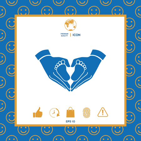 Hands holding baby - protection symbol. Heart shape made with hands Illustration