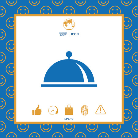 Restaurant Steel Serving Tray. Cloche symbol . Signs and symbols - graphic elements for your design