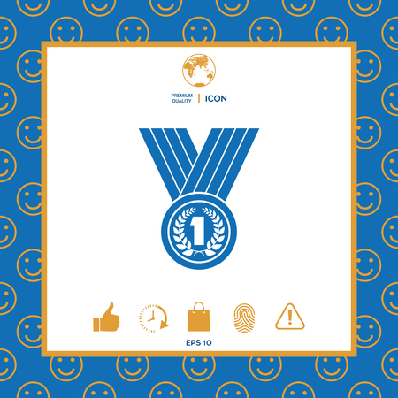 Medal with Laurel wreath. Icon . Signs and symbols - graphic elements for your design Illusztráció