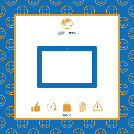 Computer tablet with blank screen, icon. Element for your design . Signs and symbols - graphic elements for your design