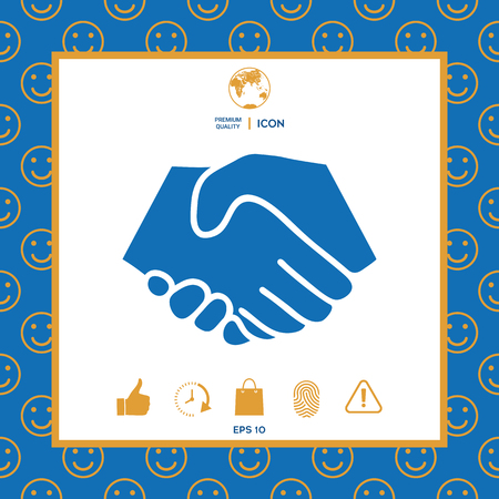 Symbol of handshake in circle. Sign . Signs and symbols - graphic elements for your design