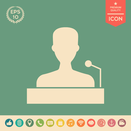 Speaker, orator speaking from tribune icon . Signs and symbols - graphic elements for your design
