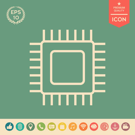 CPU symbol icon. Element for your design . Signs and symbols - graphic elements for your design Illustration