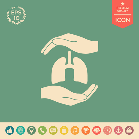 Hands holding lungs - protection symbol . Signs and symbols - graphic elements for your design Çizim