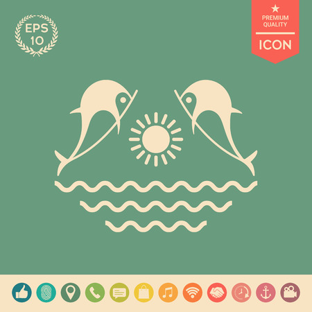 Dolphins with sun & sea - Logo Illustration