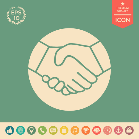 Symbol of handshake in circle. Icon . Signs and symbols - graphic elements for your design