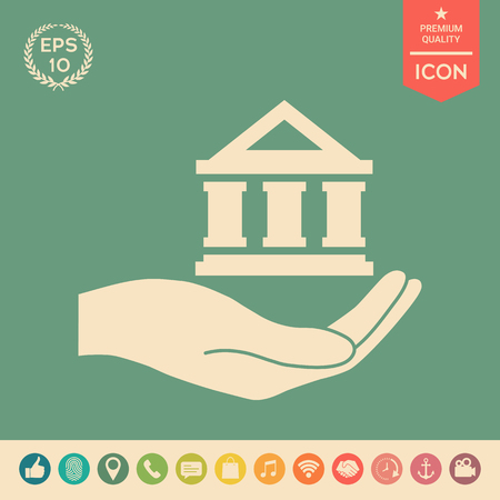 Hand holding bank . Signs and symbols - graphic elements for your design