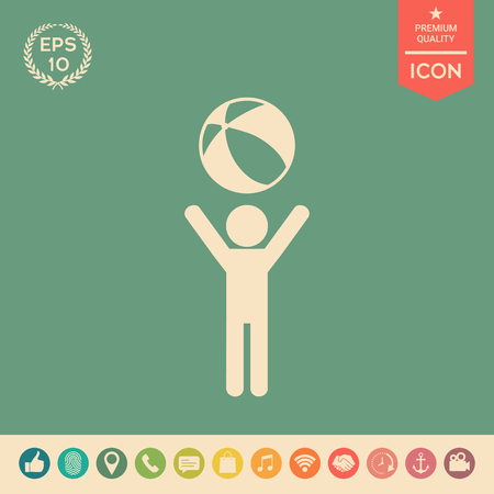 Child holds children toy, bouncy ball - icon. Element for your design . Signs and symbols - graphic elements for your design