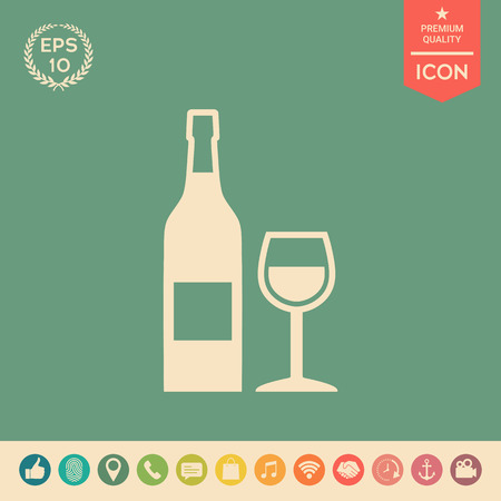 Bottle of wine and wineglass icon. Element for your design . Signs and symbols - graphic elements for your design 일러스트