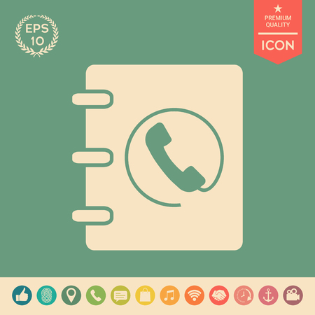 Notebook, address, phone book icon with handset symbol . Signs and symbols - graphic elements for your design Illustration