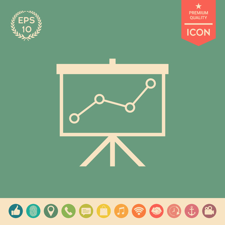Flip-chartwith a graph. Web icon. . Signs and symbols - graphic elements for your design Illustration