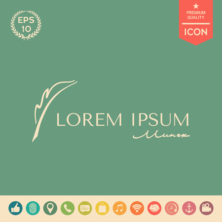 Elegant logo with Fountain pen. Element for your design . Signs and symbols - graphic elements for your design
