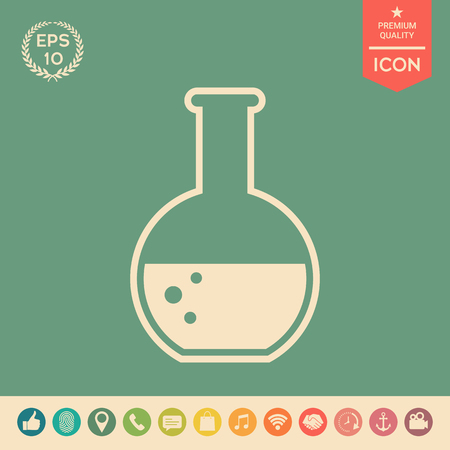 Test-tube with Bubbles symbol icon . Signs and symbols - graphic elements for your design