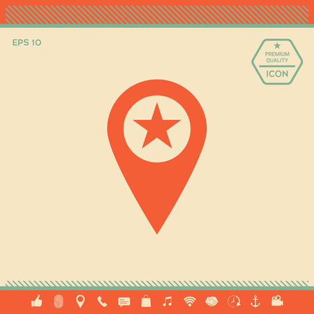 Map pointer with star . Signs and symbols - graphic elements for your design Stock Illustratie
