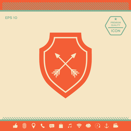 Shield with arrows. Protection icon . Signs and symbols - graphic elements for your design Stock Vector - 121821971