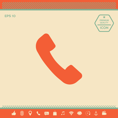 Telephone handset symbol, telephone receiver icon . Signs and symbols - graphic elements for your design Vectores