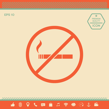 No smoking, smoking ban icon. Cigarette - prohibiting sign . Signs and symbols - graphic elements for your design