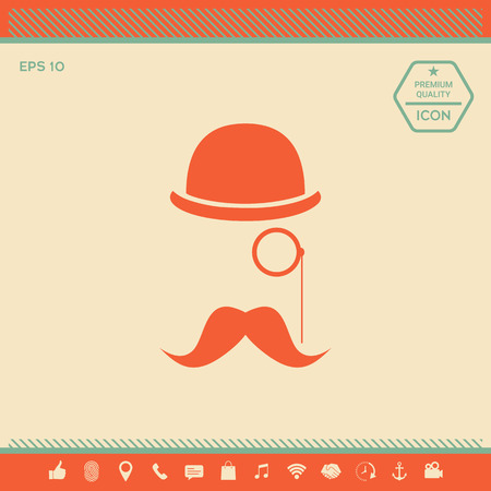 Abstract hipster silhouette with bowler hat, monocle, mustache.  Element for your design. . Signs and symbols - graphic elements for your design Illustration