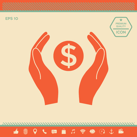 Hands holding money - dollar symbol . Signs and symbols - graphic elements for your design