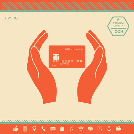 Hands holding credit card . Signs and symbols - graphic elements for your design Vettoriali